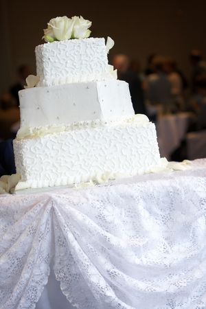 a white wedding cake with lots of little swirl details and silver candy buttons Stock Photo - 607929