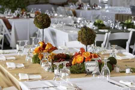 cloth halls: table setting for a wedding or dinner event Stock Photo