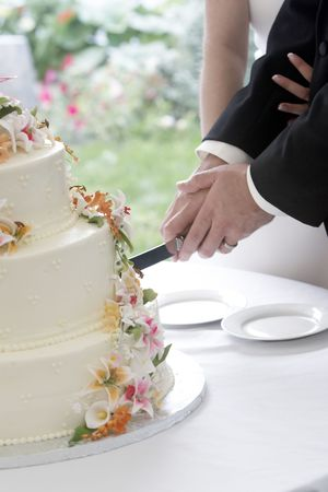 cutting: A wonderful wedding cake with the bride and groom cutting the cake with a long knife. The flowers look real, but are really edible sugar flowers!