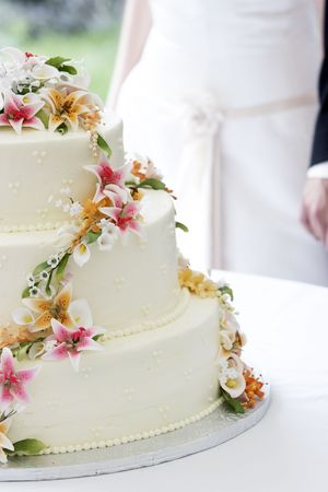 A wonderful wedding cake with the bride and groom in the background holding hands before the cake cutting ceremony. The flowers look real, but are really edible sugar flowers!