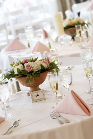 tables set for fine dining during a wedding event. Stock Photo - 636420