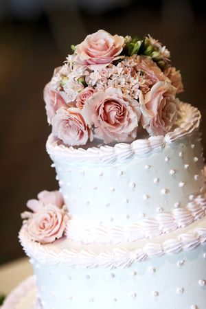A pink and white wedding cake with roses on top. Shallow depth of field with a very blurry background