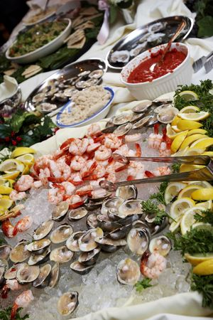 A buffet of seafood