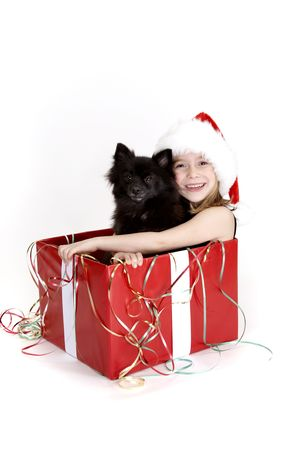 A young girl wearing a santa hat and holding her pet puppy she got for christmas photo