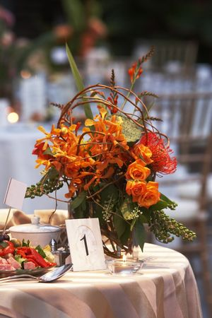 a wedding table is set for fine dining