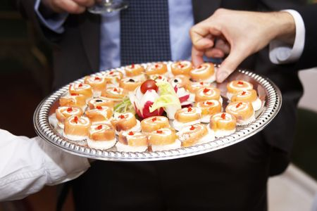 wedding food: A platter of appetizing snacks