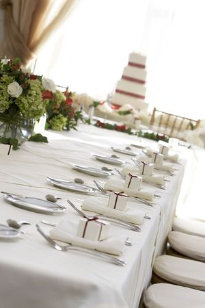 cater: Fancy table setting during a wedding. Shallow depth of field Stock Photo