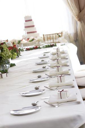 """Fancy bruiloft tabel voor """"fine dining, ondiepe scherptediepte. Stockfoto"""