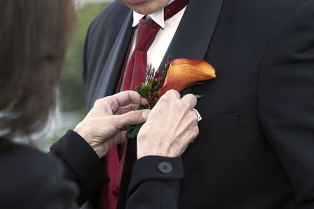 boutonniere: Grooms nice boutonniere