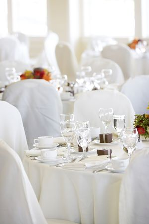Wedding tables set for fine dining Stock Photo