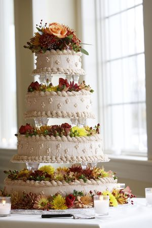 A cake from a wedding - please see my portfolio for many more wonderful and tasty cakes Stock Photo