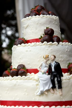 this is a wedding cake with little toy bride and groom kissing. this image has a very shallow depth of field. chocolate covered strawberries cover the layers and red ribbons