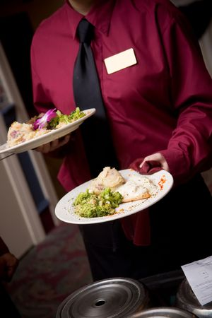 caterer: food being served by a waiter during a wedding or catered social event - NOTE: this image has very slight movement in the hands from the action of the dinner being brought to the table.