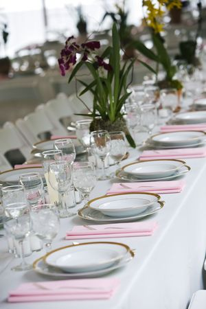 catered: wedding table arranged with plates and glasses at a catered event - shallow depth of field