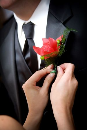 a helping hand - putting the flower on a groom
