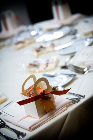 a wedding favor on a table during a social event