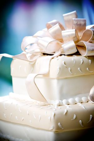 this is a very cool wedding cake with sugar ribbons on top