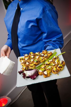 wedding or event food being served by the wait staff