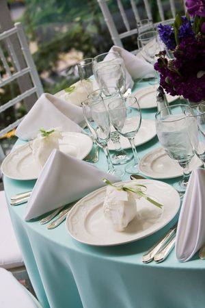 Fancy table set for fine dining Standard-Bild