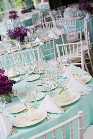 Salontafeltje instellingen tijdens een bruiloft of evenement Stockfoto
