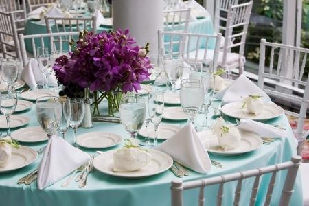 Fancy tabella impostazioni durante un matrimonio o evento speciale Archivio Fotografico - 4013145
