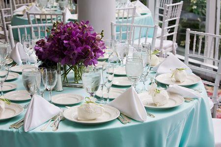 Fancy tabella impostazioni durante un matrimonio o evento speciale Archivio Fotografico - 4013121