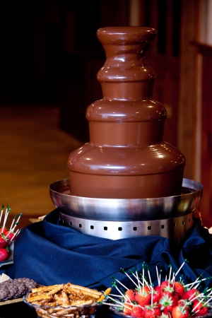 chocolate fountain durring a wedding