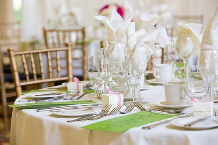 cater: This is a wedding table set for dinner service. There are green menus on the table, but you cannot read the writing. Stock Photo