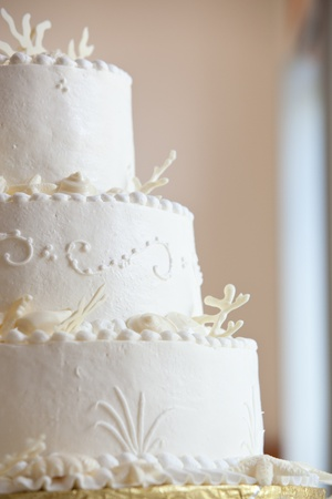 white ocean themed wedding cake with miniature seashell design and details photo