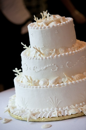 a white ocean themed wedding cake with miniature seashell design and details photo