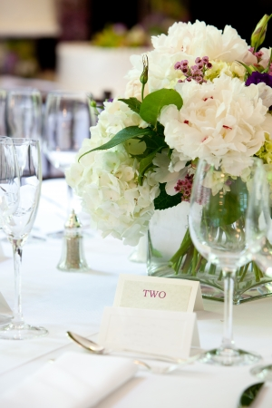 banquets: Table set for a wedding or other catered banquet