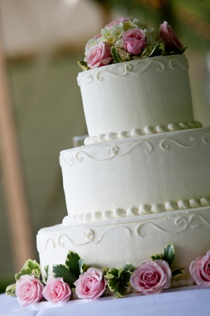 white multi level wedding cake with pink flower decorations photo