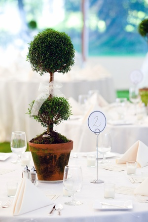 a wedding table in white with a large sculptured centerpiece photo