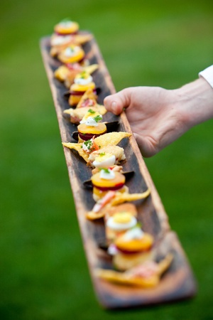 catered: a waiter serving appetizers at a wedding or catered event