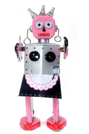 vintage toy robot walking toward you on a white background Stock Photo - 13163891