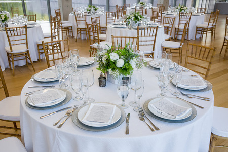wedding table set for fine dining at a fancy catered event - wedding table series Imagens