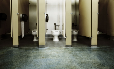 public toilet: One clean bathroom among a bunch of dirty ones