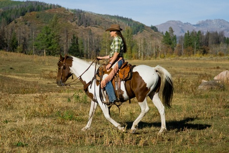 cowboy on horse: Woman Riding Her Horse Stock Photo