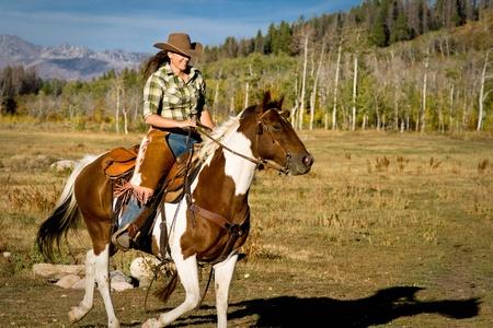 Woman Riding Her Horse Stok Fotoğraf