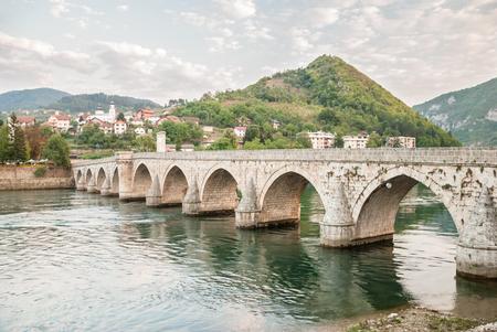 bosnia and hercegovina: An old brigde on the Drina in Visegrad, Bosnia and Herzegovina