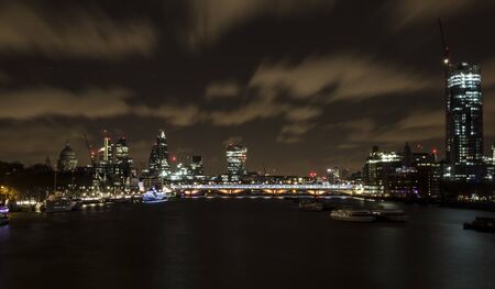 Skyline of London at night.