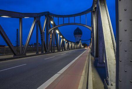 Bridge and water tower in Darmstadt. Zdjęcie Seryjne