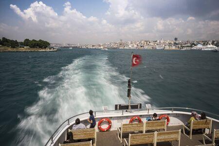 Speeding ferryboat in istanbul Stockfoto