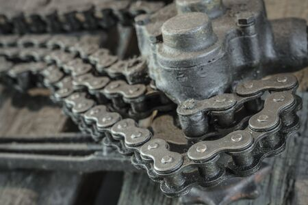 Detail of an old chain lift 스톡 콘텐츠