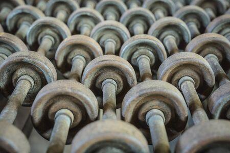Historic roller conveyor unit 版權商用圖片