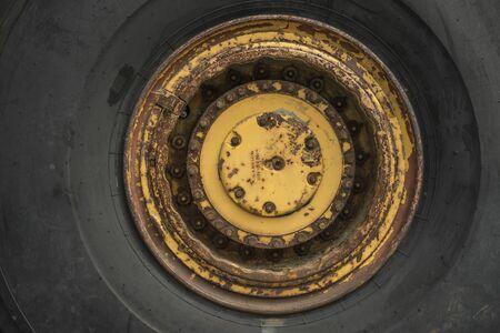 Wheel of a mining truck.