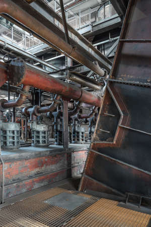 Machinery in an abandoned coal mine.