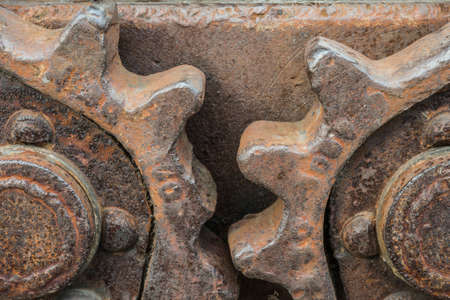 rusty gearing on a historic excavator
