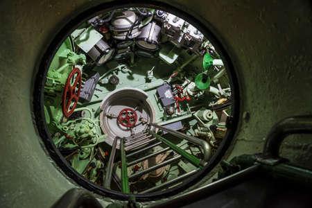 ladder in a historic submarine Archivio Fotografico