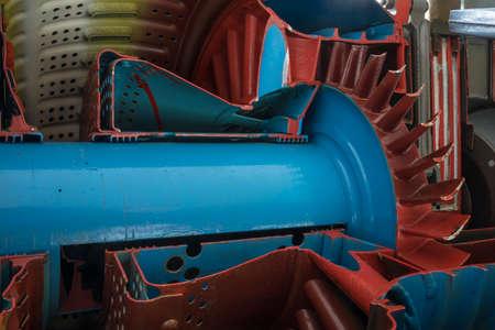 Detail of a historic jet engine. Archivio Fotografico